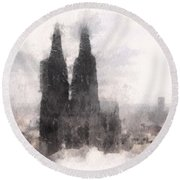 Cathedral Of Cologne Round Beach Towel