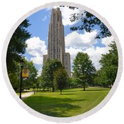 Cathedral Of Learning University Of Pittsburgh Round Beach Towel