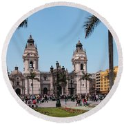 Cathedral Of Lima Round Beach Towel
