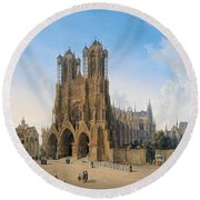 Cathedral Of Notre-dame At Reims Round Beach Towel