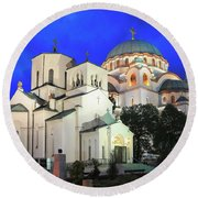 Cathedral Of Saint Sava At Dusk Belgrade Serbia Round Beach Towel