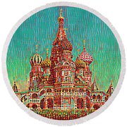 Cathedral Of St. Basil, Moscow Russia Round Beach Towel