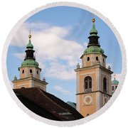 Cathedral Of St Nicholas In Ljubljana Round Beach Towel