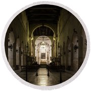 Cathedral Of Syracuse - Duomo Di Siracusa - An Ancient 2500 Years Old Greek Temple Round Beach Towel