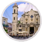 Cathedral Of The Virgin Mary Of The Immaculate Conception Round Beach Towel