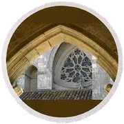 Cathedral On The Saint James Path  Round Beach Towel