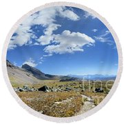 Cathedral Peak Over Waterton Valley Trail - Glacier National Park Round Beach Towel