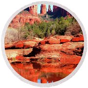 Cathedral Reflections 2 Round Beach Towel
