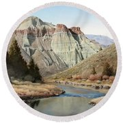 Cathedral Rock John Day River Round Beach Towel