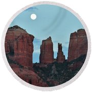 Cathedral Rock Moon 081913 E2 Round Beach Towel
