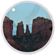 Cathedral Rock Moon 081913 G Round Beach Towel