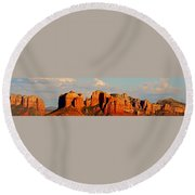 Cathedral Rock Panorama Round Beach Towel