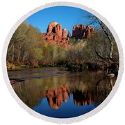 Cathedral Rock Reflection In Oak Creek Round Beach Towel