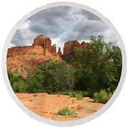Cathedral Rock With Clouds Round Beach Towel
