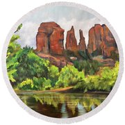 Cathedral Rocks In Crescent Moon Park Round Beach Towel