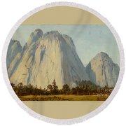 Cathedral Rocks  - Yosemite Valley Round Beach Towel
