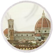 Cathedral Santa Maria Del Fiore At Sunset, Florence. Round Beach Towel
