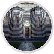 Cathedral Side Door Orvieto Italy Round Beach Towel