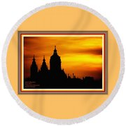 Cathedral Silhouette Sunset Fantasy L A With Alt. Decorative Ornate Printed Frame. Round Beach Towel