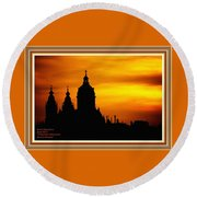 Cathedral Silhouette Sunset Fantasy L A With Decorative Ornate Printed Frame. Round Beach Towel
