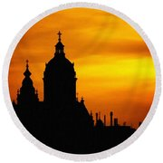 Cathedral Silhouette Sunset Fantasy L B Round Beach Towel