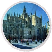 Cathedral, Spain Round Beach Towel