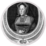 Catherine Of Aragon, First Wife Round Beach Towel