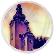 Catholic Church Building, Architectural Dominant Of The City, Graphic From Painting. Round Beach Towel