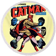 Catman And Kitten Square Format Round Beach Towel