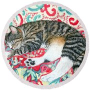 Catnap Time Round Beach Towel