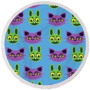 Cats And Rabbits Round Beach Towel
