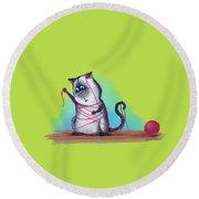 Cat's Cradle, Kitty Style Round Beach Towel