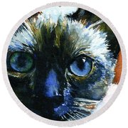 Cats Eyes 13 Round Beach Towel