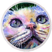 Cats Eyes 2 Round Beach Towel