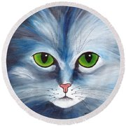 Cat Eyes Blue Round Beach Towel