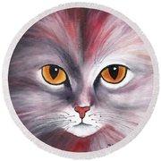 Cat Eyes Red Round Beach Towel