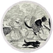 Cats In A Bicycle Race, Hyde Park, 1896 Round Beach Towel