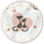 Cats In Love, Romantic Decorative Seamless Pattern Round Beach Towel