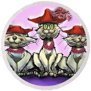 Cats In Red Hats Round Beach Towel