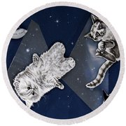 Cats In Space Round Beach Towel
