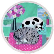 Cats In Spring Round Beach Towel