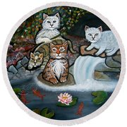 Cats In The Wild Round Beach Towel