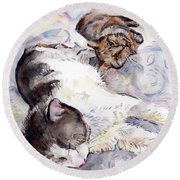 Cats In Watercolor Round Beach Towel
