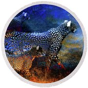 Cats On The Prowl Round Beach Towel