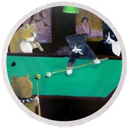 Cats Playing Pool Round Beach Towel