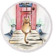 Cat's Welcome Motel Round Beach Towel