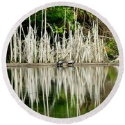 Cattail Reflection Round Beach Towel