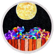 Catting In The Moonlight Round Beach Towel
