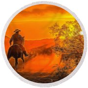 Cattle Drive 45 Round Beach Towel
