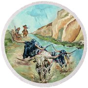 Cattle Drive Round Beach Towel